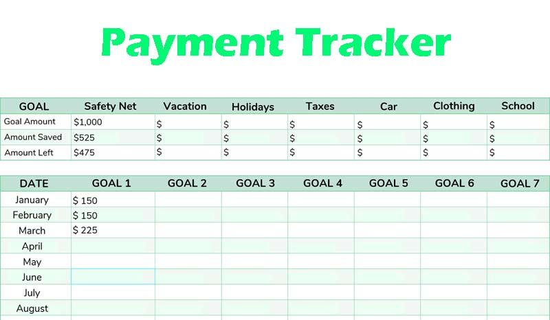 Payment Tracker Excel Template