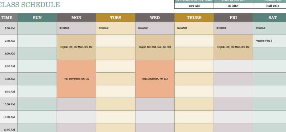 Class-Schedule-Spreadsheet